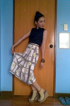 navy Old Navy top - lime green skirt - light brown wedges