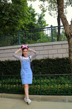 white stripes Forever 21 sweater - periwinkle denim pinafore from bangkok dress