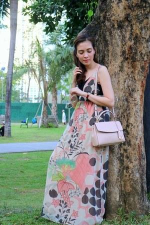 lime green maxi dress Zara dress - light pink satchel Michael Kors bag