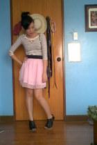 white nautical H&M top - bubble gum ballerina skirt - black booties heels