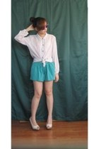 turquoise blue studded shorts - white sheer blouse - ivory snakeskin heels