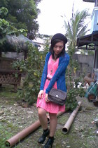 polka dots dress - knitted jacket - quilted bag - clogs