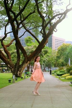 light orange chiffon Jill Stuart dress - tawny pony hair Rebecca Minkoff bag