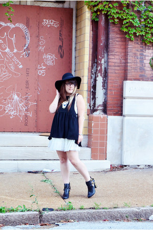 black felt H&M hat - black shoemint boots - white white lace Target dress