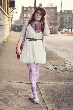 off white Target dress - light purple tights - hot pink coach bag
