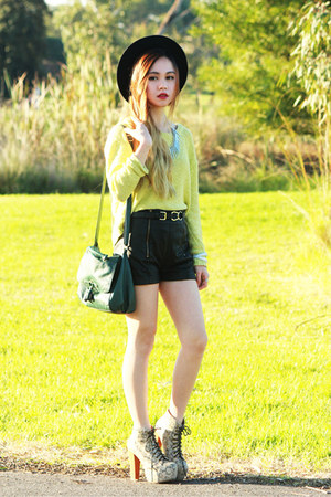 lime green MinkPink sweater - black MinkPink shorts - tooabsorb necklace