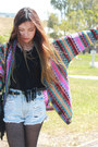Fringe-love-top-denim-minkpink-shorts-amethyst-knit-romwe-cardigan