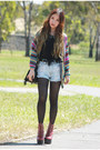 Denim-minkpink-shorts-amethyst-knit-romwe-cardigan-fringe-love-top