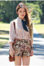 Floral-romwe-shorts-jeffrey-campbell-boots-lace-romwe-top
