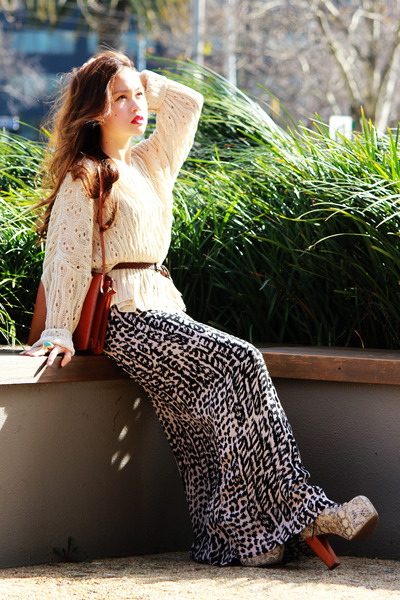 maxi H&M skirt - python lita Jeffrey Campbell boots - vintage Louis Vuitton bag