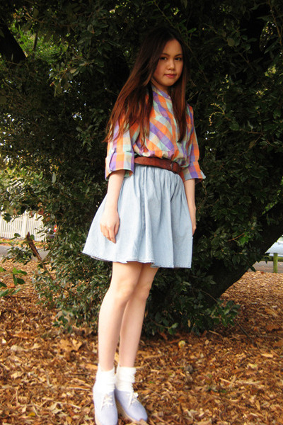Monki shoes - Topshop socks - denim Monki skirt - vintage belt - Monki top