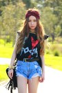 Denim-yesstyle-shorts-wildpair-shoes-skull-yesstyle-bag