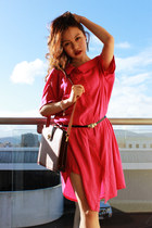 hot pink dress - crimson Louis Vuitton bag - gray Chanel earrings
