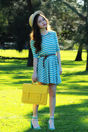 turquoise blue stripes dress - yellow bag - cream asos socks