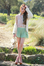 Romwe-bag-mint-romwe-shorts-floral-romwe-top-jeffrey-campbell-heels