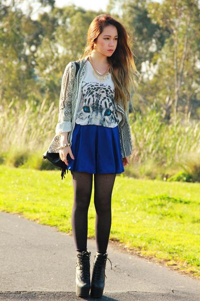 romwe blazer - romwe top - evil twin skirt