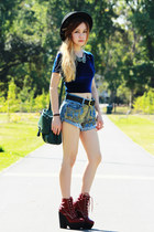 navy American Apparel top - brick red Jeffrey Campbell boots - green H&M bag