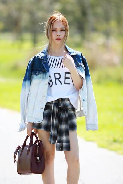 denim dipdye romwe jacket - tshirt Sheinside top