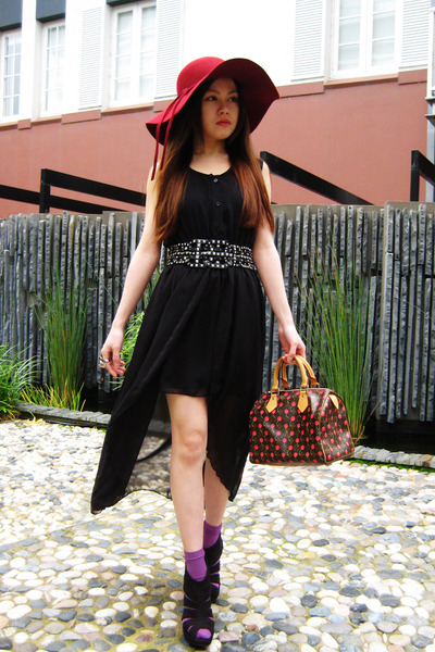 black dress - ruby red Sportsgirl hat - purple socks - red Alexander McQueen rin