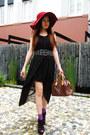 Black-dress-ruby-red-sportsgirl-hat-purple-socks-red-alexander-mcqueen-rin