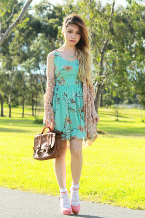aquamarine Love dress - peach polka dot no brand blazer - dark brown vintage bag