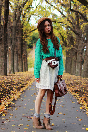 light brown suede mimi loves gimi wedges - turquoise blue knitted sweater