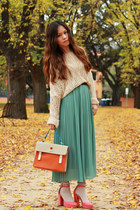 beige sweater - carrot orange bag - turquoise blue skirt - salmon heels