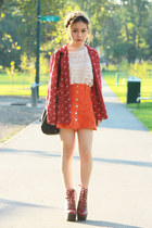 carrot orange MinkPink skirt - brick red Jeffrey Campbell boots