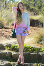 Light-purple-pastel-minkpink-shorts-light-pink-galatin-jeffrey-campbell-boots