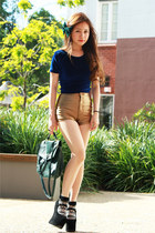 gold American Apparel shorts - green H&M bag