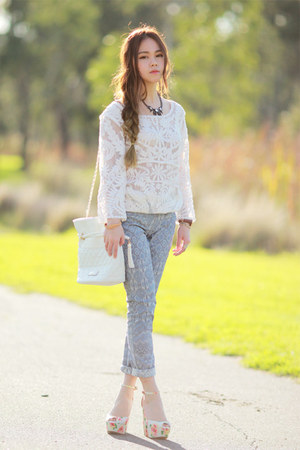lace Choies top - quilted Choies bag - floral Randa wedges