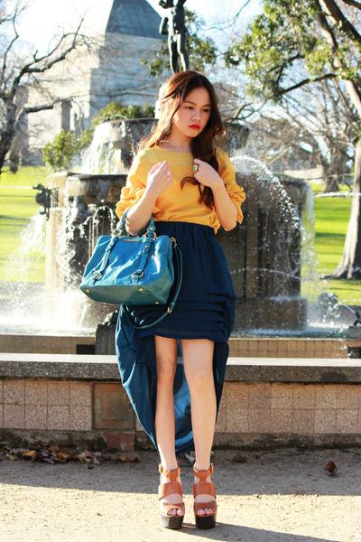 turquoise blue Miu Miu bag - YSL ring - ss11 Chanel earrings - tawny Topshop hee