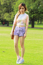 nude asos top - light blue Monki shoes - light purple MinkPink shorts