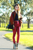 Jeffrey Campbell boots - brick red MinkPink jeans - romwe bag