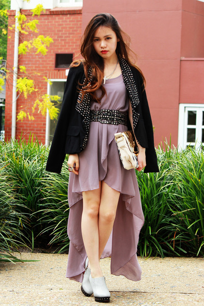 dark gray Zara belt - light purple Love dress - Mimco bag