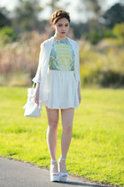 white Jeffrey Campbell wedges - geometric Sheinside dress - Choies bag