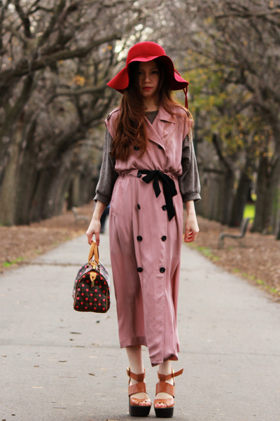 ruby red Sportsgirl hat - Louis Vuitton bag - tawny Topshop heels - pink trench