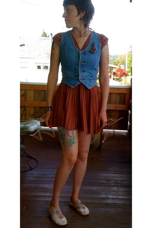 blue vintage vest - brown DIY dress