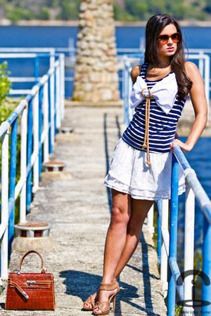 h&m customized shirt - vintage bag - Sfera skirt - Esprit glasses - Zara sandals