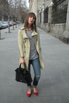 beige vintage coat - white Mango shirt - blue Zara jeans - red hazel shoes - bla