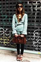 turquoise blue hm sweater - black hm jeans - brown Zara shoes - BLANCO purse - t