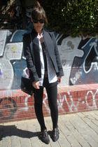 blue Zara jacket - white Zara shirt - black hm leggings - black hazel shoes - bl