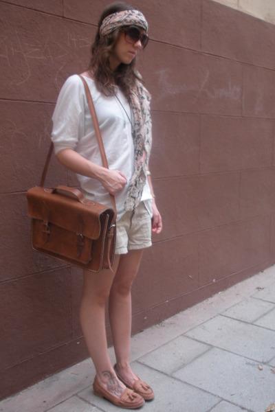 white Zara t-shirt - beige hm shorts - brown Zara shoes - brown accessories - br