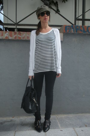 black Oysho t-shirt - white Zara cardigan - green rayban sunglasses - black hm j
