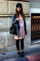 pink hm shirt - gray Zara cardigan - black Zara leggings - black hm shoes - blac
