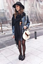 black hazel boots - gray Zara dress - black vintage hat - blue Lee jacket - crea