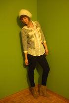 white Mango cardigan - white Zara shirt - black hm jeans - beige Zara boots
