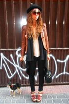 brown leather vintage jacket - brown Zara shoes - black hm jeans