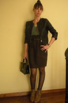 black Zara jacket - green Zara t-shirt - brown hm skirt - beige Zara boots - bla