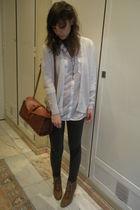 white vintage from templo de susu cardigan - white Zara shirt - gray Zara leggin